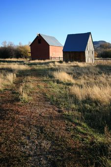 Two Barns In A Field 2 Stock Photography