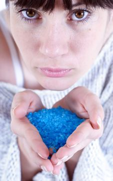 Blue Bath Salt Royalty Free Stock Photo