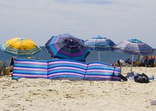 Free Striped Beach Umbrellas Royalty Free Stock Images - 1518569