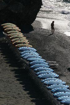 Umbrellas On Italian Riviera Stock Photography