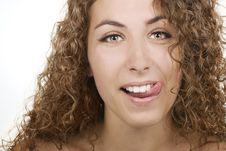 Free Beautiful Girl Licks Lips Stock Photography - 15101362