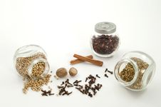 Selection Of Dried Herb In Jars Stock Photo