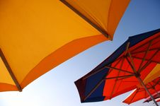 Umbrellas On The Beach Royalty Free Stock Images