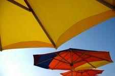 Umbrellas On The Beach Stock Photo