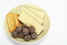 Various Confectionery On Plate Stock Image