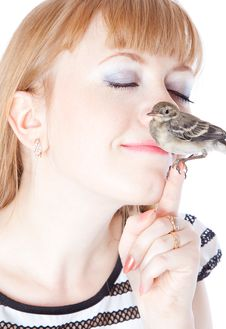 Nestling Of Bird (wagtail) On Hand Royalty Free Stock Image