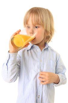 Free Boy Drinks Fresh Fruit Juice Isolated On White Royalty Free Stock Image - 15107606