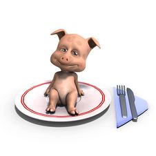 Cute And Funny Toon Pig Served On A Dish As A Royalty Free Stock Photo