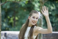 Free Young Bride Waving With Hand Stock Image - 15107881