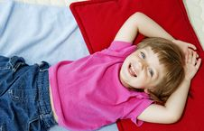 Little Girl  Resting On Bed Stock Photos
