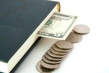 Free Dollar Invested In The Diary As A Bookmark Stock Photography - 15108402