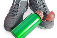 Free Sports Footwear, Thermos For Water. Stock Photography - 15109502