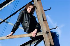 Free Woman On Electrical Tower Royalty Free Stock Photography - 15109827