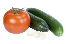 Free Tomato, Cucumber And Garlic Royalty Free Stock Photo - 15110305