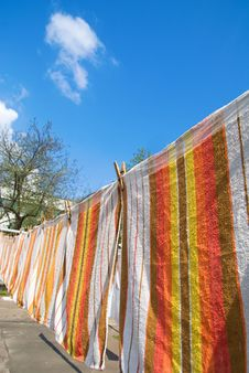 Free Towels That Hang On The Rope Royalty Free Stock Image - 15110346