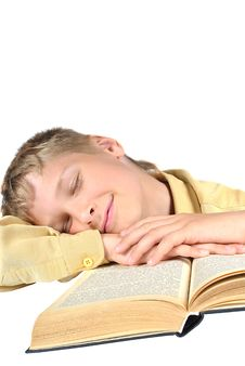Free The Teenager Fell Asleep Reading A Book Stock Image - 15111401
