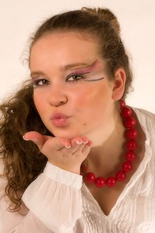 Free Woman Sending A Kiss Royalty Free Stock Photography - 15113277