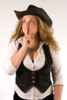 Whispering Western Girl Stock Photos