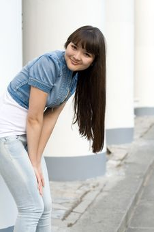 Free Girl Standing Near Column Stock Image - 15113661