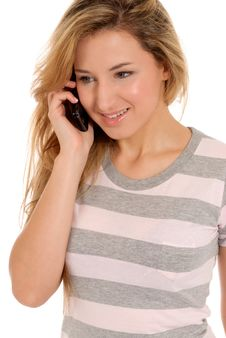 Free Young Female Talking By Telephone And Smiling Royalty Free Stock Images - 15114329