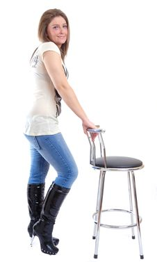 Free Sexy Young Woman Posing With Bar Stool Stock Image - 15116111