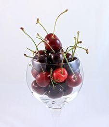 Fresh Ripe Cherries In A Wine Glass Stock Photo