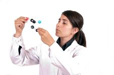 Female Scientist With Organic Molecule Royalty Free Stock Photo