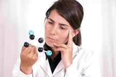 Female Scientist With Organic Molecule Royalty Free Stock Photography