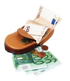 Leather Wallet With Euro Royalty Free Stock Photo
