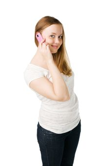 Young Woman Calling By Cellular Phone Royalty Free Stock Images