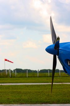 Propeller Of The Airplane Under Sky Stock Photo