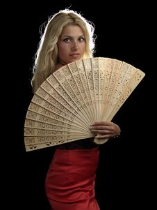 Free Hot Blonde In Red Dress With Fan Royalty Free Stock Images - 15118079