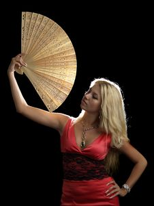 Free Hot Blonde In Red Dress With Fan Royalty Free Stock Photography - 15118097