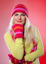 Free Pretty Funny Woman In Hat And Gloves Stock Photos - 15125073
