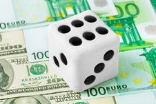 Free Dice On Money Background Royalty Free Stock Photography - 15120977