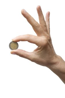 One Hand Holding A Coin Royalty Free Stock Image