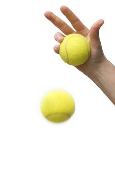 Free Hand Holding Tennis Balls Royalty Free Stock Photography - 15123507