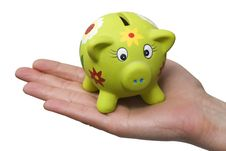 Free Piggy Bank On A Hand Stock Photography - 15123862