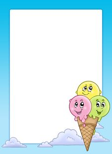 Free Frame With Cartoon Ice Cream Royalty Free Stock Images - 15124589