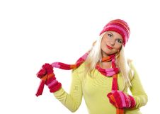 Free Pretty Funny Woman In Hat And Gloves Stock Photos - 15125023