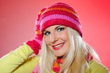 Free Pretty Funny Woman In Hat And Gloves Stock Photos - 15125043