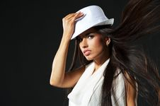 Free Attractive Lady In White Hat Stock Image - 15125181