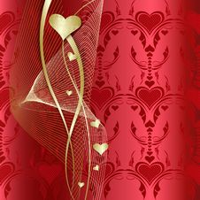 Free Background With Golden Hearts Stock Photo - 15125660