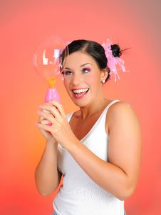 Free Beautiful Happy Woman Blowing Soap Bubbles Royalty Free Stock Images - 15126659