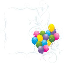 Free Balloons With Bubbles In The Decorative Frame Royalty Free Stock Photos - 15126878
