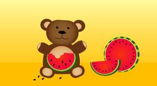 Free Bear Eating Fresh Watermelon Stock Images - 15127524