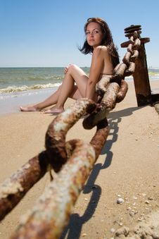 Free Young Woman Sitting At The Beach Stock Photo - 15127900