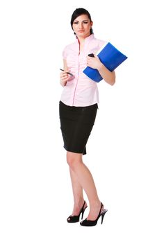 Free Charming Girl In Pink Blouse With Papers Royalty Free Stock Photo - 15128585