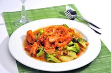 Free Chinese Fried Broccoli With Prawn Royalty Free Stock Photos - 15128868