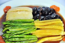 Four Vegetable With Oyster Sauce Stock Photography